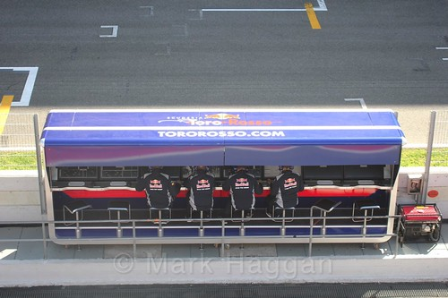The Toro Rosso pit wall during Formula One Winter Testing 2017