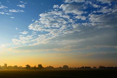 From The Onion Field (Rob Felton) Tags: light sky cloud sun mist silhouette fog sunrise skyscape landscape bedford haze bedfordshire flare vista felton lumen cardington robertfelton