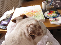 Artists Assistant (PaintpotsandDaydreams) Tags: painting parsonrussellterrier