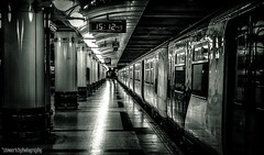 15:12 (Simon Rich Photography) Tags: street uk white black london clock monochrome station train liverpool canon reflections lights shadows carriage time platform pillars effect contrasts hdr simonrich mrmonts simonrichphotography