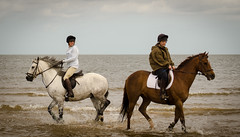You go your way and I'll go mine. (David M:) Tags: uk trip travel trees girls light shadow sea summer vacation england sky horse holiday seascape art english beach nature water girl beautiful beauty field clouds composition rural photoshop landscape fun happy coast countryside photo seaside sand nikon europe surf natural image britain 4 north norfolk scenic picture scene structure photograph shade british form 1855mm nikkor shape rider tone available riders tonal lightroom compose holkham d7000