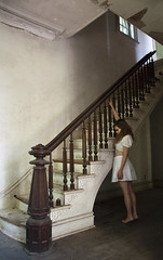(yyellowbird) Tags: white house selfportrait abandoned girl illinois staircase cari