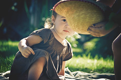 Now you see it... (Fran Polito) Tags: summer sun girl grass hat kids yard children outside spring backyard toddler play strawhat sunglow playingkids