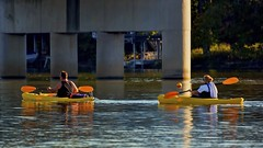 Sunset paddle (Berkehaus) Tags: orange water yellow river boat couple kayak paddle scioto