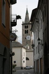 Cathedral clock tower (Julie Littlefield) Tags: italy alps aosta valdaosta aoste