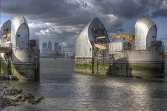 Thames Barrier, London (Kam Sanghera) Tags: london thames river greenwich o2 arena wharf barrier canary hdr charlton photomatix aperturewoolwich apws