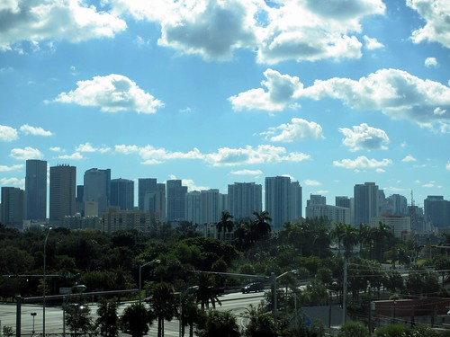 Skyline, trees, and clouds, Miami, Florida