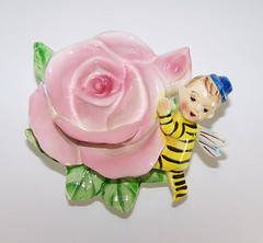 HF Co Anthropomorphic Pixie Bee Holding on to a Rose Wall Pocket (filigreefairy) Tags: boy rose vintage bug insect ceramic bee elf fairy collectibles anthropomorphic madeinjapan flowerfairy wallpocket esd pixe hfco