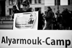 . (Thorsten Strasas) Tags: berlin de demo deutschland palestine refugees rally brandenburggate flags demonstration hunger syria brandenburgertor mitte kundgebung flaggen pariserplatz syrien starving fahnen flchtlinge flchtlingslager schwarzweis alyarmouk palestians sufferingpeople shoutingactivists