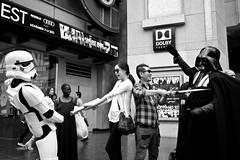 Walk of Fame (China Chas) Tags: california bw usa la losangeles hollywood jedi stormtrooper walkoffame 1022mm darthvadar lightsabre 2013 imperialstormtrooper