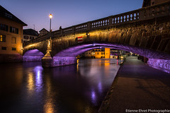 Pont Saint-Martin, Strasbourg, France (Etienne Ehret) Tags: blue light france color water night canon saintmartin eau mark lumire iii bleu strasbourg alsace hour pont 5d nuit quai 1740mm f4 petitefrance couleur heure sriel