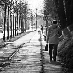 take the long way home (city/human/life (very busy)) Tags: street trees light shadow people blackandwhite bw dog sunlight white signs black tree cars home schilder germany way bag walking deutschland spur grey licht march spring nikon day afternoon shadows path candid strasse branches streetphotography himmel hund nrw sw autos duisburg kontrast bume schatten ruhrgebiet baum schwarz mrz we