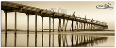 Fingal Heads Sand Pumping Jetty B&W (Brett Huch Photography) Tags: ocean sea bw seascape reflection beach nature water sepia reflections surf waves seascapes jetty australia nsw aussie fingalheads wavesbreaking sandpumpingjetty