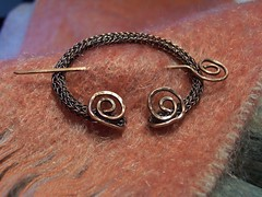 Viking Style Copper Penannular Pin (The Purple Raven Boutique) Tags: wire knitting pin brooch knit copper viking artisan penannular