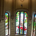 The staircase and stained glass