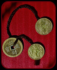 3 Coins with No Fountain (buddhadog) Tags: threechinesecoins calligraphy red braidedhair 100vu cmwdred tao dao yinyang 500vu 500 10faves