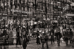 Helsinkipolis 13 (pni) Tags: multiexposure multipleexposure tripleexposure human being people man woman sign street building car helsinki helsingfors finland suomi pekkanikrus skrubu pni person monochrome