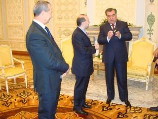 President Dr. Anton Caragea receives Tajikistan Independence Medal from President Emomali Rahmon