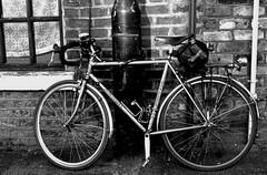B&W Bike (Duane Jones Cheshire1963) Tags: bike bw wheel mono spoke tire chain turn ride black white wall brick pedal tyre bag cyclist curtain