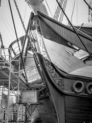 USS Constellation Under Repair (KWPashuk) Tags: olympus pointandshoot lightroom kwpashuk kevinpashuk monochrome ship tallship boat sailing bow repair warship baltimore md innerharbour outdoors historic
