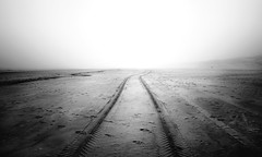 Tracks to Nowhere (D.ROS) Tags: 2017 beach black bright clouds color dark dunes fog green holland mist netherlands nocolor noordholland northholland outdoor outside petten sand schagen sea shore water white winter yellow supershot