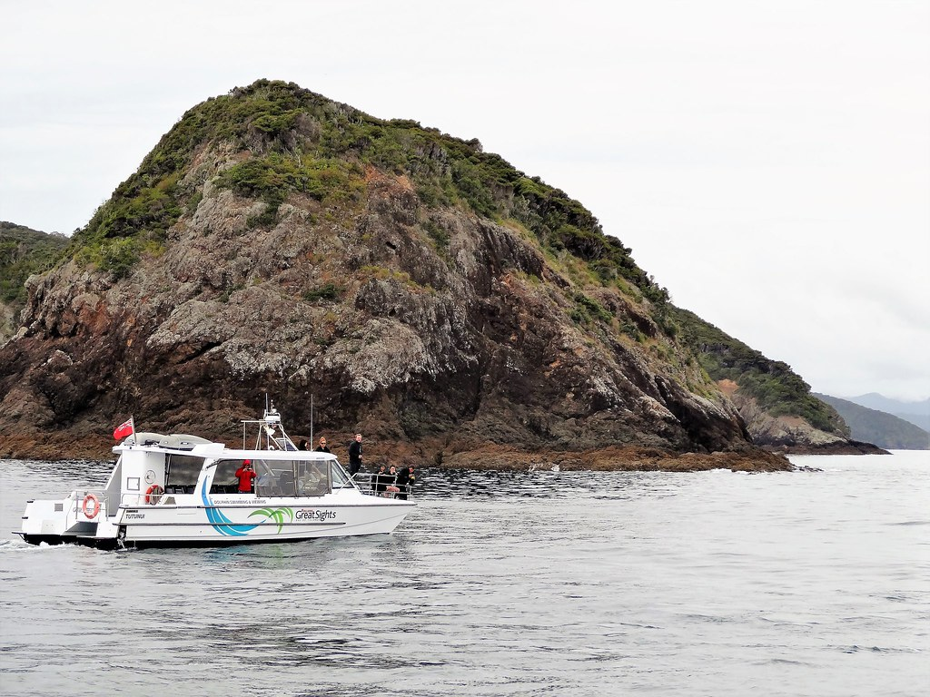 Bay of Islands. Cruise boat for tourist sightseeing.