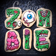 ZombieWords (cREEative_Cookies) Tags: creeatve cookies ree halloween hallows dia delos muertos candy skulls typography sugar art decorated cookie decorating party theme desserts holiday dessert zombie eyeball nightmare before christmas jack skellington sandy cupcakes spiders pumpkins jackolanterns leaves platter ghosts corn bats blood bloody cut finger ears butcher 3d