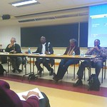 "Professors Ken Salo, Misbahudeen Ahmed-Rufai (Malcolm X College, Chicago), Teresa Barnes, and Erik McDuffie at ""Building Africana Studies in Community Colleges"""