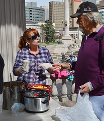 Members of two church groups serve lunch to the needy in downtown Denver. (desrowVISUALS.com) Tags: economics economy poverty poorpeople austerity economiccrisis poor service compassion love luncheschurch setfreechurch freelunch