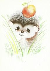9 (Liepziede) Tags: postcrossing postcard paintedhedgehogs oldrussian hedgehog gbugajeva 1989