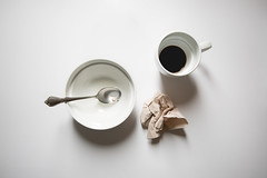 done with breakfast (auntneecey) Tags: whitebackground cereal coffee napkin naturallight shadow 365the2017edition 3652017 day82365 23mar17 donewithbreakfast