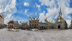 The vacant square (saharsh) Tags: quebec canada cold sky panorama european town royal cloud cluds skies village old buildings church cobblestone brick snow ice