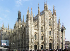 Milan Cathedral (Jocey K) Tags: city sky people italy sculpture milan detail architecture buildings poster tour cathedral structure relief marble figures cathedralquot quotcosmos 6330quot quotmilan