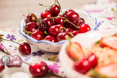 Cherries (Cristian Sabau | Photography) Tags: wood summer food macro nature horizontal fruit photography strawberry raw cut knife bowl sugar romania extremecloseup transylvania foodanddrink freshness selectivefocus groupofobjects sweetfood