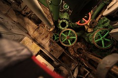 Looking down to the lower deck, full of valves (Marcus Wong from Geelong) Tags: russia submarine saintpetersburg  sovietnavy sovietsubmarines189 project613b