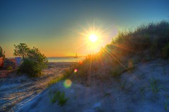 Sunset over dune (retropman) Tags: sunset beach nature clouds nikon lensflare oceancity hdr d3100