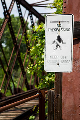 Sign Says... (Chubby's Photography) Tags: bridge trees nature sign wisconsin traintracks wausau metalsign metalbridge wausauwi