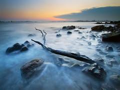 Neptune's Trident (night86mare) Tags: sunset sea seascape beach colors coast singapore rocks long exposure waves branch slow shoreline surreal shutter k5 haida 10mm nd8