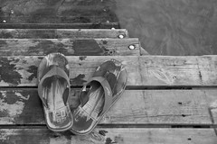 Going For A Swim (pejejeppe) Tags: bw water sandals 365 bathing 2913