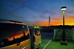 Sunset Glow after the passage of Typhoon (hidesax) Tags: windows light sky japan reflections glow dusk sigma saitama sunet merrill ageo dp1 hidesax 19mmf28 28mm35mmequivalentfocallength sunsetglowafterthepassageoftyphoon