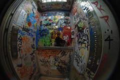 j'ai visit la Tour 13 ! (lepublicnme) Tags: paris france graffiti october elevator tags fisheye fulton ascenceur peleng 2013 latour13