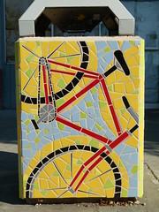 bike (Jef Poskanzer) Tags: bike bicycle tile geotagged mosaic garbagecan trashcan geo:lon=12226074 geo:lat=3784790