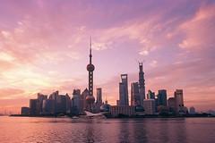 Morning Shanghai (Lord Shen) Tags: china city morning sunset urban film canon landscape photography asia shanghai kodak landmark 135 lujiazui ektar100 lokatse