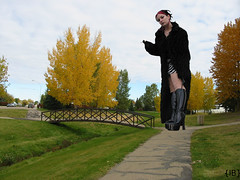 iffelmausautmn (iffelbuffer) Tags: bridge autumn fall leaves bike boots path cigarette smoking angry stony plain lash giantess pleather iffelbuffer
