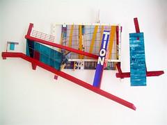 A...TION  ( 2011 ). Plexy, laiton, film polyester, nylon,ramin, fil cuivre, peinture. (emmanuelviard75) Tags: sculpture photo lyon films structure bois mobilit murile matire plexy