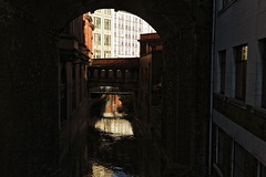 Manchester Canal City (fearthecat) Tags: city bridge blue white canon dark manchester amber canal arch darkness shade waterway 550d