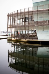 Berth Restaurant (Matthew Kenwrick) Tags: food water reflections restaurant mirror still day quiet bright australia melbourne calm docklands berth {vision}:{sky}=0521 {vision}:{text}=0741