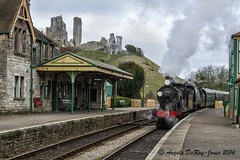 Steam Train and Corfe Castle (angeladj1) Tags: steamtrain corfecastle lswrt930120