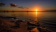 Fraser Island sunset (dave.fergy) Tags: blue sunset reflection beach water landscape holidays au australia reflected reflect hour queensland fraserisland reflectingreflections on1pics sunshinecoast2015
