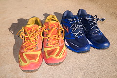 Brooks Cascadia 9 - The shoes on the left had over 500 miles on them when I replaced the, but were still holding up well. A new pair of Cascadia 9s to the right.